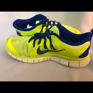 Nike Free 5.0 neon yellow and blue running shoes